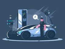 Voiture électrique et conducteur près d'automobile illustration de vecteur