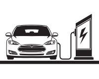 Voiture électrique et poste d'essence Images stock