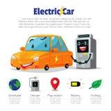 Voiture électrique et station de charge, illustration de personnage de dessin animé Photographie stock