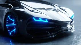 Voiture électrique futuriste noire avec la lumière bleue Concept d'avenir rendu 3d Photo stock