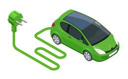 Voiture électrique isométrique dans la recharge Ravitaillement électrique Transport d'Eco Illustration de vecteur d'isolement sur illustration de vecteur