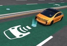 Voiture électrique jaune sur la ruelle de remplissage sans fil d'EV illustration stock