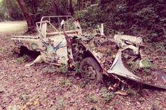 Voiture abandonnée dans la jungle Images libres de droits