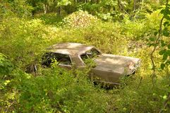 Voiture abandonnée dans les bois Photographie stock