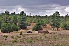 Voiture ancienne et carlingue de rondin partielle dans le tilleul, le comté de Navajo, Arizona, Etats-Unis photos stock