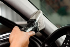 Voiture automatique de nettoyage de service de voiture, nettoyage et nettoyer à l'aspirateur Image libre de droits