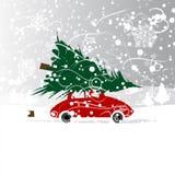 Voiture avec l'arbre de Noël, tempête de neige d'hiver pour le votre Photos libres de droits