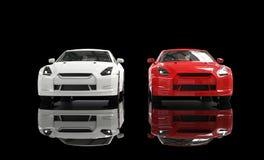 Voiture blanche et rouge sur le fond noir - Front View Images stock