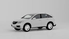 Voiture blanche générique de SUV d'isolement sur le fond blanc, vue de face Images stock