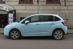 Voiture bleu-clair de Citroen C3 dans Goteburg Photographie stock libre de droits