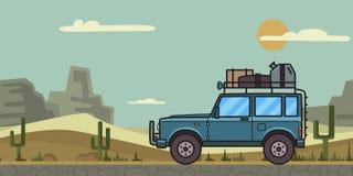 Voiture bleue de SUV avec le bagage sur le toit se déplaçant par le désert de canyon Véhicule, montagnes tous terrains de table,  illustration stock
