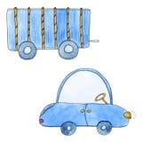 Voiture bleue mignonne avec la remorque dans le style de bande dessinée Illustration tirée par la main d'aquarelle Photo stock