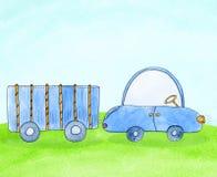 Voiture bleue mignonne avec la remorque sur le pré Illustration tirée par la main de cheldrens d'aquarelle dans le style de bande Photos libres de droits