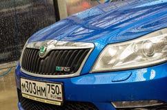 voiture bleue Moscou buble de rs d'octavia de skoda images libres de droits