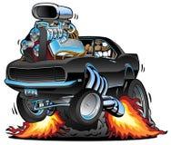 Voiture classique de muscle sautant un Wheelie, moteur énorme de Chrome, conducteur fou, illustration de vecteur de bande dessiné image stock