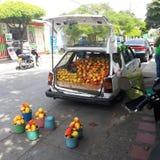 Voiture complètement des fruits, Amérique latine Photo stock