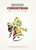 Voiture contemporaine de salutation de triangle de Joyeux Noël illustration libre de droits