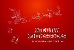 Voiture d'étoiles de Santa de Joyeux Noël et de bonne année Photo libre de droits