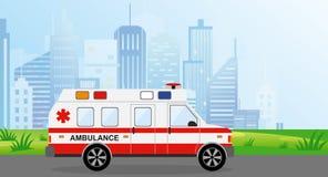 Voiture d'ambulance d'illustration de vecteur dans la ville Paysage urbain sur le fond dans des couleurs bleu-clair Urgence autom illustration de vecteur