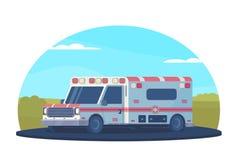 Voiture d'ambulance sur la route en dehors de la ville Véhicule médical de premiers secours Style plat de vecteur illustration de vecteur