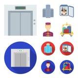 Voiture d'ascenseur, mini barre, personnel, construisant Icônes réglées de collection d'hôtel dans la bande dessinée, actions pla Photographie stock
