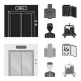 Voiture d'ascenseur, mini barre, personnel, construisant Icônes réglées de collection d'hôtel dans le noir, actions de symbole de Photo libre de droits