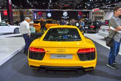 Voiture d'Audi R8 sur l'affichage à la trente-cinquième expo internationale de moteur de la Thaïlande le 28 novembre photographie stock libre de droits