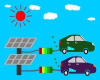 Voiture d'Eco, illustration à énergie solaire de concept, énergie solaire d'alternative du soleil d'énergie d'eco Photo stock