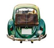 Voiture d'isolement de vintage avec la valise Photo stock