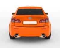 Voiture d'isolement sur le blanc - peinture orange, verre teinté - vue arrière Photographie stock libre de droits