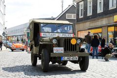 Voiture d'oldtimer de Williams Willys Jeep dans Kettwig, secteur d'Essen photo stock