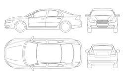 Voiture de berline dans le contour Vecteur de calibre de véhicule de berline d'affaires d'isolement sur le blanc Regardez avant,  illustration de vecteur