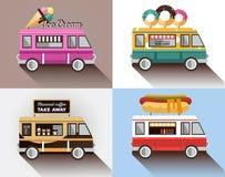Voiture de café sur la rue Hot dog, barre, crème glacée  illustration de vecteur