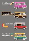 Voiture de café sur la rue Hot dog, barre, crème glacée  Image libre de droits