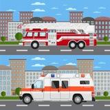 Voiture de camion de pompiers et d'ambulance dans le paysage urbain Images libres de droits