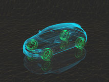 Voiture de concept de rayon X avec les roues vertes Images libres de droits