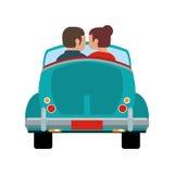 voiture de conducteur de couples romantique Photos libres de droits