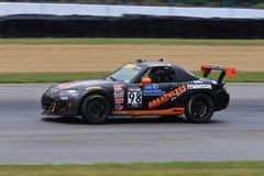 Voiture de course professionnelle de Mazda MX-5 sur le cours Photographie stock libre de droits