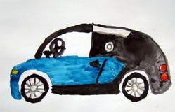 Voiture de fantaisie peinte par l'enfant Image libre de droits