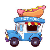 Voiture de hot dog de bande dessinée Photo stock