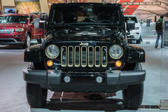 Voiture de Jeep Wrangler Dragon Edition sur l'affichage au salon de l'Auto de LA. Images stock