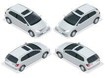 voiture de la berline avec hayon arrière 3-door d'isolement Icônes isométriques de vecteur réglées Calibre de vecteur de voiture  Image stock