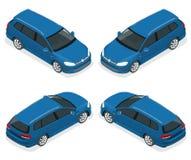voiture de la berline avec hayon arrière 5-door d'isolement Icônes isométriques de vecteur réglées Calibre sur le fond blanc La c Photo libre de droits