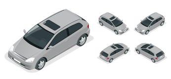 voiture de la berline avec hayon arrière 3-door Icônes isométriques de vecteur réglées Photo stock