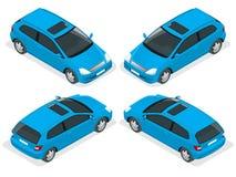 voiture de la berline avec hayon arrière 3-door Icônes isométriques de vecteur réglées Photos libres de droits