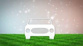 Voiture de papier sur le champ d'herbe 3D rendent l'animation clips vidéos