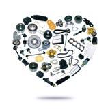 Voiture de pièces de rechange de coeur sur le fond blanc Image libre de droits