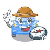 Voiture de police miniature de bande dessinée d'explorateur sur la table illustration libre de droits