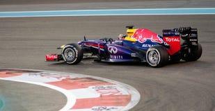 Voiture de Redbull F1, cheveux Pin Turn et accélération Photo stock