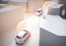 Voiture de Selfdriving dans l'action - rendu 3D photo stock